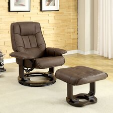 Leatherette Swivel Recliner Chair and Ottoman