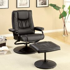 Slate Leatherette Swivel Recliner Chair and Ottoman
