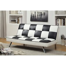 Dalphine Checkered Leatherette Futon Chair