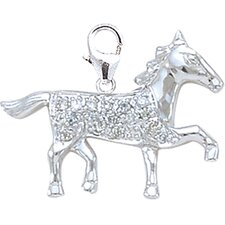 14K 1.15 Grams White Gold Diamond Horse Charm