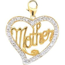 <strong>EZ Charms</strong> 14K Yellow Gold Diamond Mother in Heart Charm