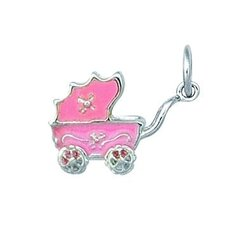 <strong>EZ Charms</strong> Sterling Silver Pink Baby Carriage Charm