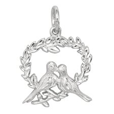 1.7 Grams Sterling Silver Doves in Heart Charm