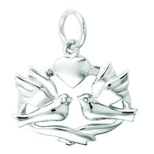 Sterling Silver Dove Band Heart Charm