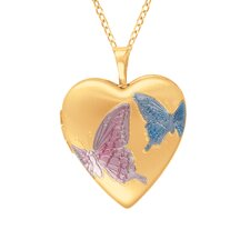 Heart Shaped Butterfly Locket in Gold