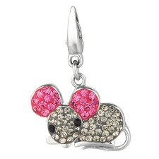 Crystal Mouse Charm with Swarovski Elements