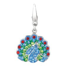 <strong>EZ Charms</strong> Crystal Peacock Charm with Swarovski Elements