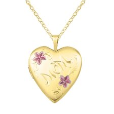 """Mom"" and Flower Heart-Shaped Locket Necklace"