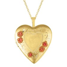 Heart Locket with Flowers Necklace