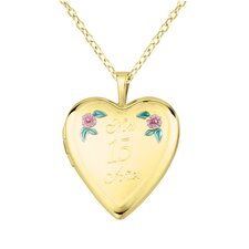 "Flower ""Mis 15 Anos"" Heart Locket Necklace"