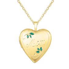 "<strong>EZ Charms</strong> ""Mom"" Leaves Heart-shaped Locket Necklace"