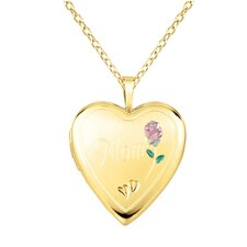 """Mom"" Rose Heart Locket Necklace"