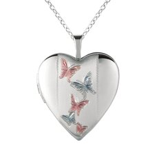 Heart-Shaped Butterfly Locket Necklace