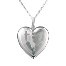 <strong>EZ Charms</strong> Cross, Mother and Baby Heart Locket Necklace