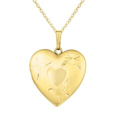 Heart Shaped Locket with Butterflies Necklace