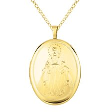 Virgin Mary Oval Locket Necklace