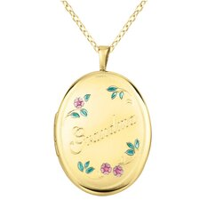 "Flowers ""Grandma"" Oval Locket Necklace"