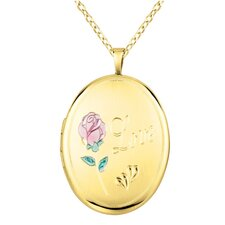 "Rose ""Love"" Oval Locket Necklace"