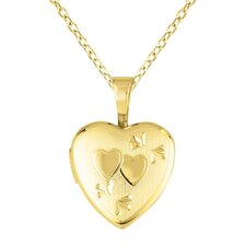 <strong>EZ Charms</strong> Heart Shaped Locket with Double Heart Necklace