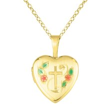 Cross and Flowers Heart Shaped Locket Necklace