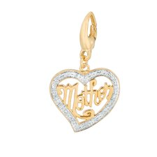 Diamond Mother in Heart Charm