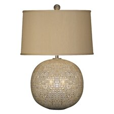 """Mother of Pearl Orb 26"""" H Table Lamp with Oval Shade"""