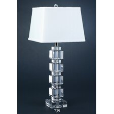 "Crystal Cubist 28"" H Table Lamp with Rectanguler Shade"