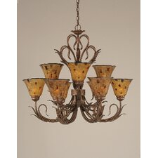 Swan 9 Light  Chandelier with Pen Shell Shade