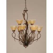 Leaf 9 Light  Chandelier withCrystal Glass