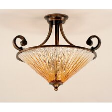 Curl 3 Light Semi Flush Mount