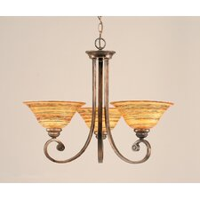 <strong>Toltec Lighting</strong> Curl 3 Up Light Chandelier with Glass Shade