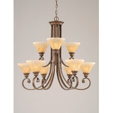Curl 9 Up Light Chandelier with Crystal Glass Shade