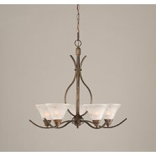 Swoop 5 Light Chandelier with Frosted Crystal Glass Shade