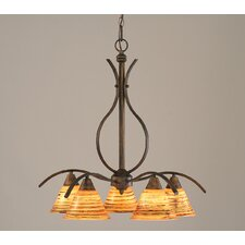 <strong>Toltec Lighting</strong> Swoop 5 Light  Chandelier with Glass Shade