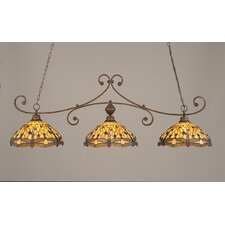 <strong>Toltec Lighting</strong> Curl 3 Light Kitchen Island Pendant