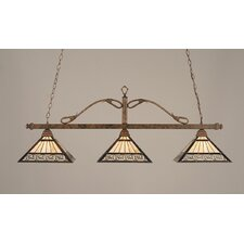 <strong>Toltec Lighting</strong> 3 Light Square Kitchen Island Pendant