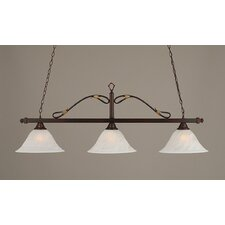 <strong>Toltec Lighting</strong> 3 Light Wrought Iron Rope Kitchen Island Pendant