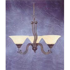 <strong>Toltec Lighting</strong> Wave 3 Light  Chandelier with Marble Glass Shade