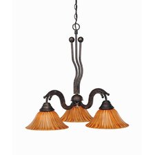 <strong>Toltec Lighting</strong> Wave 3 Light  Chandelier with Tiger Glass Shade