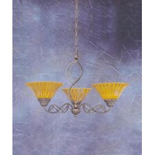 <strong>Toltec Lighting</strong> Jazz 3 Up Light Chandelier with Glass Shade