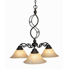 Jazz 3 Light Chandelier with Marble Glass Shade