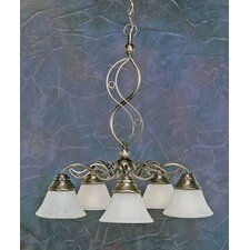 Jazz 5 Light  Chandelier with Marble Glass Shade