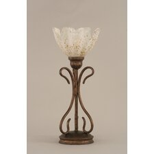 "Swan 16.75"" H Table Lamp with Gold Ice Glass Shade"