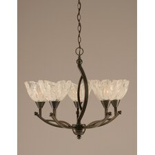 Bow 5 Light Up Chandelier with Glass Shade