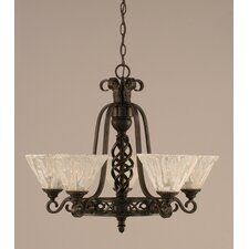 <strong>Toltec Lighting</strong> Eleganté 5 Light Up Chandelier with Glass