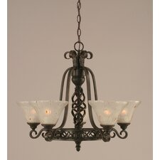 Eleganté 5 Light Up Chandelier with Crystal Glass