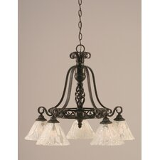 Eleganté 5 Light Down Chandelier with Glass