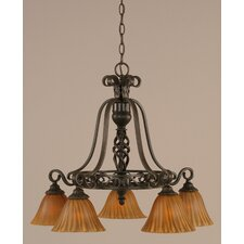 <strong>Toltec Lighting</strong> Eleganté 5 Light Down Chandelier with Tiger Glass