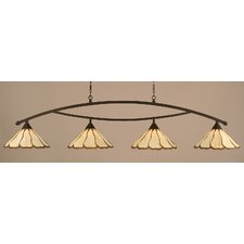 <strong>Toltec Lighting</strong> Bow 4 Light Kitchen Island Pendant