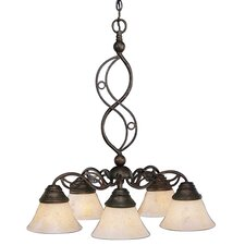 <strong>Toltec Lighting</strong> Jazz 5 Light  Chandelier with Italian Marble Glass Shade